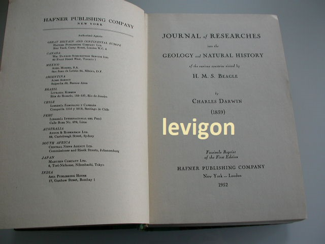 Darwin, Charles Journal of researches into the geology and natural history